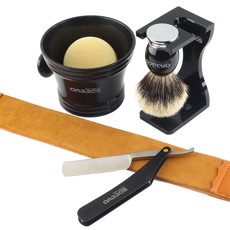 Shaving Brush Silvertip Badger Hair,7pcs Anbbas Men Shaving Set with Black Acrylic Shaving Stand,Resin Shaving Mug,Shaving Soap 100g,Stainless Steel Straight Edge Razor,Leather Travel Bag&Razor Strop