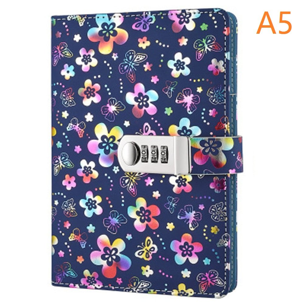 Amazon.com : PU Leather Diary with Lock, A5 Size Diary with Combination  Lock Password Journal Student Diary Book (Multicolor) : Office Products