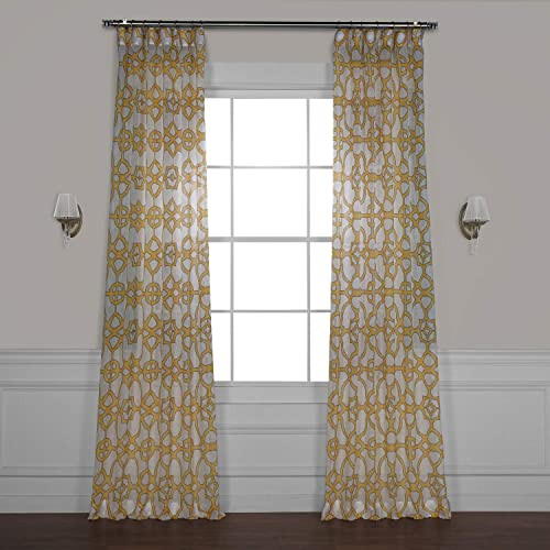 Best window curtain panel: HPD Half Price Drapes SHCH-PS16073A-108 Printed Faux Linen Sheer Curtain 1 Panel
