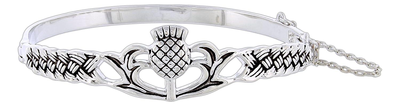 Quantum Rhodium-Plated Celtic Bangle Bracelet