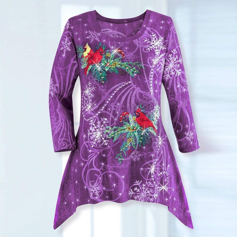 40b37d5f5bd2 ... FEDULK Christmas Womens Tunics Bird Print Snowflake Irregular Hem Plus  Size Festive Blouse Pullover