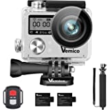 Vemico Action Cam, Action Camera 4K WIFI Sport Cam Impermeabile Casco Camera Fotocamera Subacquea 16MP Ultra HD LCD 2.0 with 2.4G Telecomando 2*1050mAh Batterie Ricaricabile e Selfie Stick
