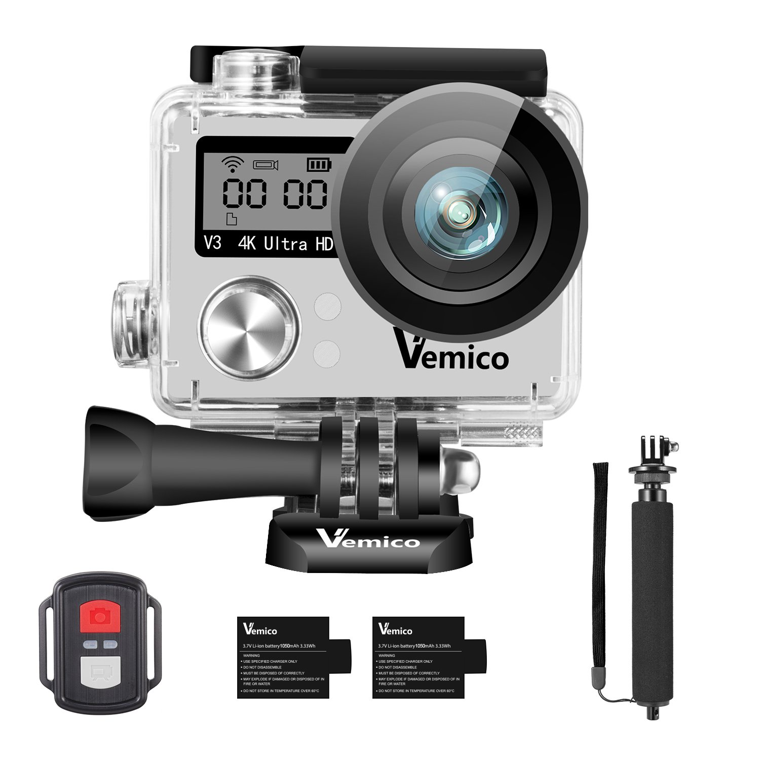 Action Camera, Vemico Sports Action Cam 4K WIFI Waterproof Camera Underwater Camera Helmet Camera 16MP Dual Screen Full HD with 2.4G Remote Control and 2pcs 1050mAh Batteries and Selfie Stick by Vemico