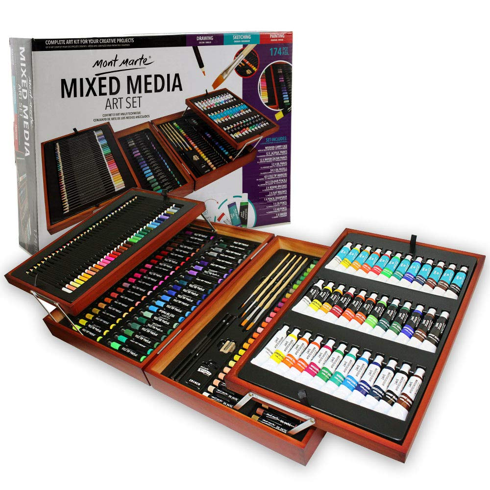 Mont Marte 174-Piece Deluxe Art Set, Art Supplies for Painting and Drawing, Art Kit in Wood Box Includes Acrylic, Oil, Watercolor Paints, Oil Pastels, Color Pencils by Mont Marte