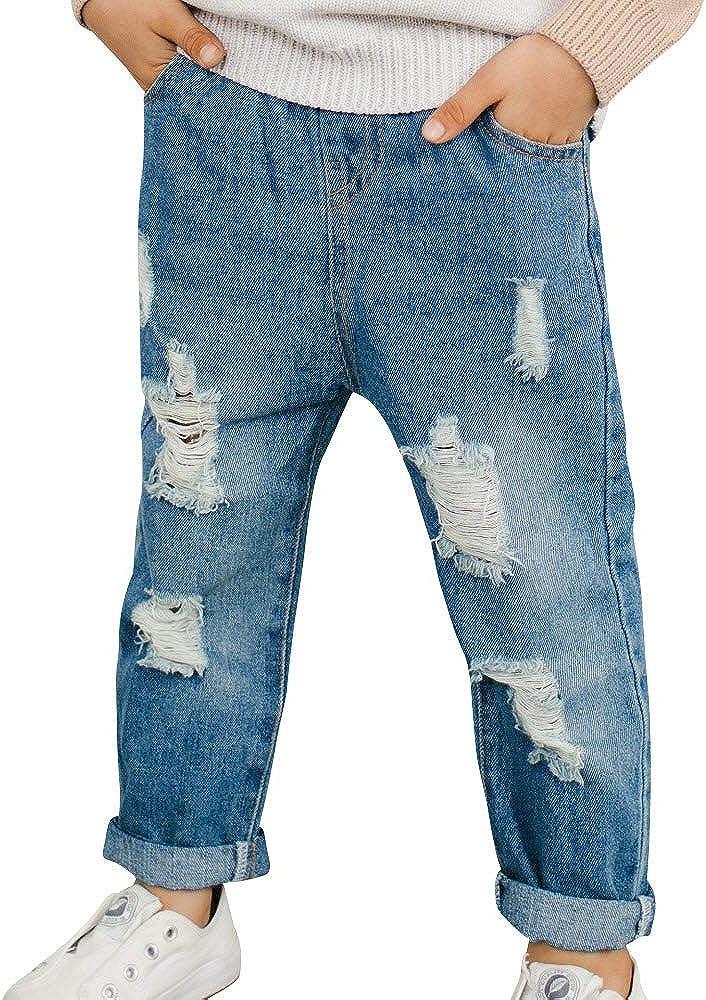 MANGCHI-Kids Little Boys Broken Holes Elastic Waist Ripped Denim Jeans Destroyed Kids Basic Pants