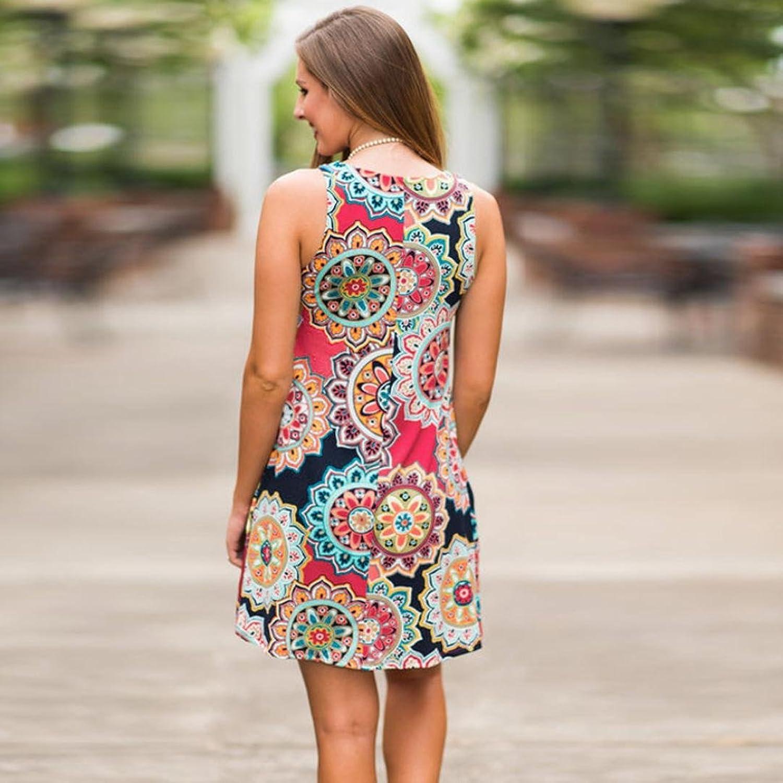 Honestyi Damen Maxikleider Sommerkleider vintage Boho Blumen Kleid ...