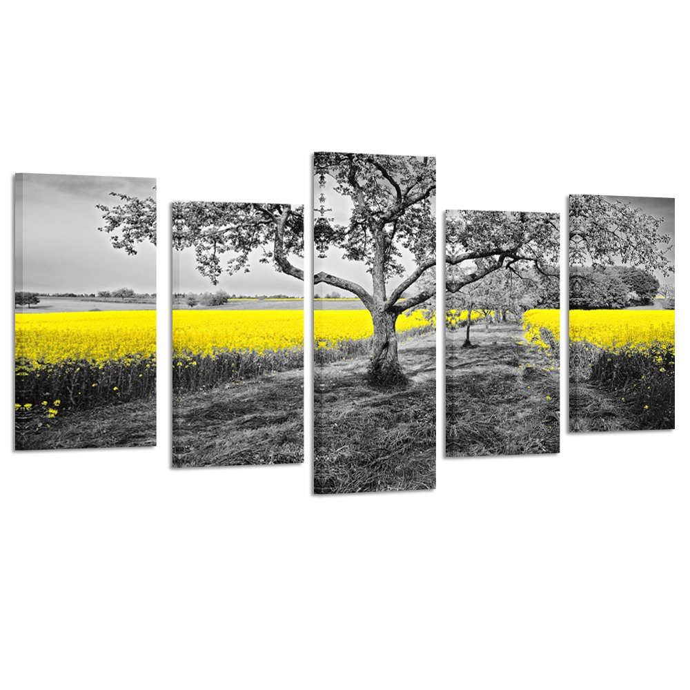 Kreative arts yellow field in black and white nature wall art modern canvas print 5 panel autumn landscape pictures farmhouse decor for living room home