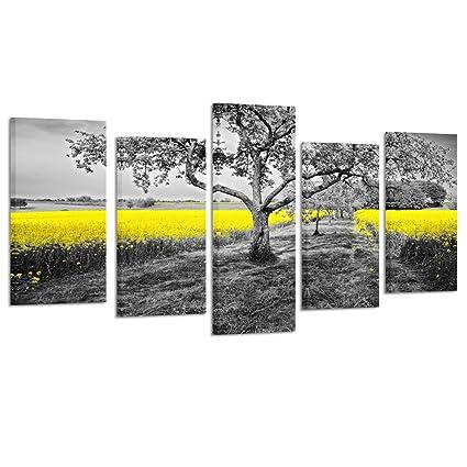Amazon.com: Kreative Arts 5 Panel Canvas Wall Art Yellow Oilseed ...