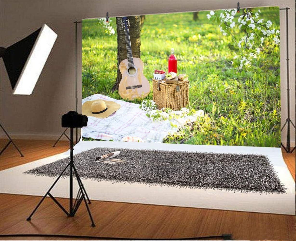 7x5ft Gardon Picnic Background Polyester Spring Scenic Photograpghy Backdrop Guiter Basket Sandwiches Juice Straw Hat White Flowers Green Grassland Wedding Photo Studio Personal Portraits