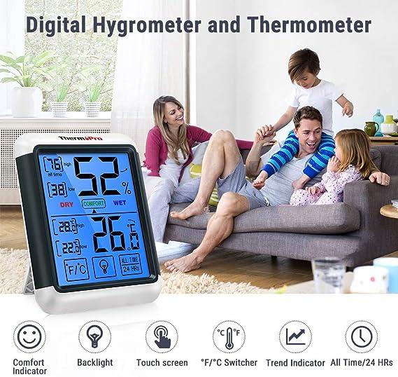 ThermoPro TP55 2 Piezas Term/ómetro Higr/ómetro de Interior para Casa Ambiente Medidor de Temperatura y Humedad Digital Termohigr/ómetro Profesional con Pantalla T/áctil y Retroiluminaci/ón