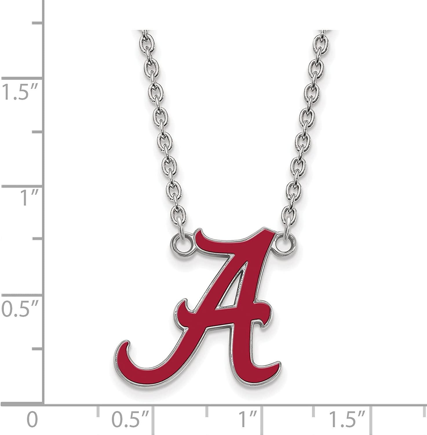 University of Alabama Crimson Tide Red School Letter Pendant with Necklace in Sterling Silver 18x19mm 18 Inches