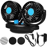 EXCOUP Auto Ventilator 12V für Das Armaturenbrett 360 Grad drehbar für Zwei Personen gleichzeitig doppelter Car Fan