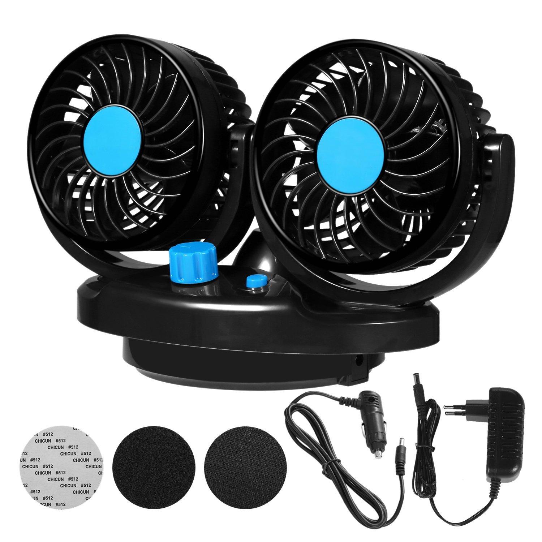LUKAT Auto Ventilator 12V fü r Das Armaturenbrett 360 Grad drehbar fü r Zwei Personen gleichzeitig Doppelter Car Fan FanLong Tech