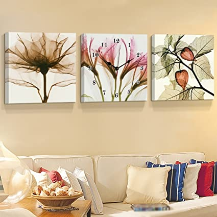 WEEDAY Creative Art Painting Wall Clock Horizontal Version Of The Triple Hanging Frameless Paintings For Living