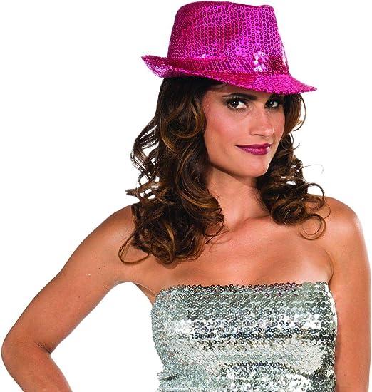 171c2e4d6f9 Forum Novelties Funky Magenta Sequin Club Dazzle Roaring 20s Gangster Girl  Costume Fedora Hat