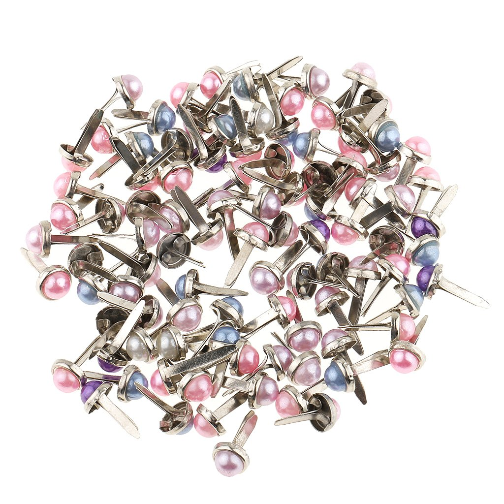 0.24inch kesoto 200Pcs Mixed Color Metal Paper Fasteners Mini Brads with Pearl Head and Split Pins for DIY Projects