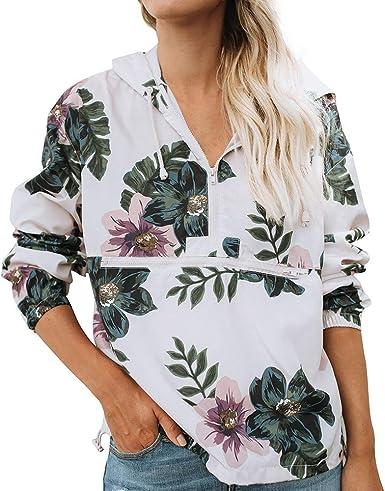 Overdose Moda para Mujer Camisa De Estampado Floral Manga Larga Cremallera Blusa con Capucha Sudadera Top De SeñOra Popular: Amazon.es: Ropa y accesorios