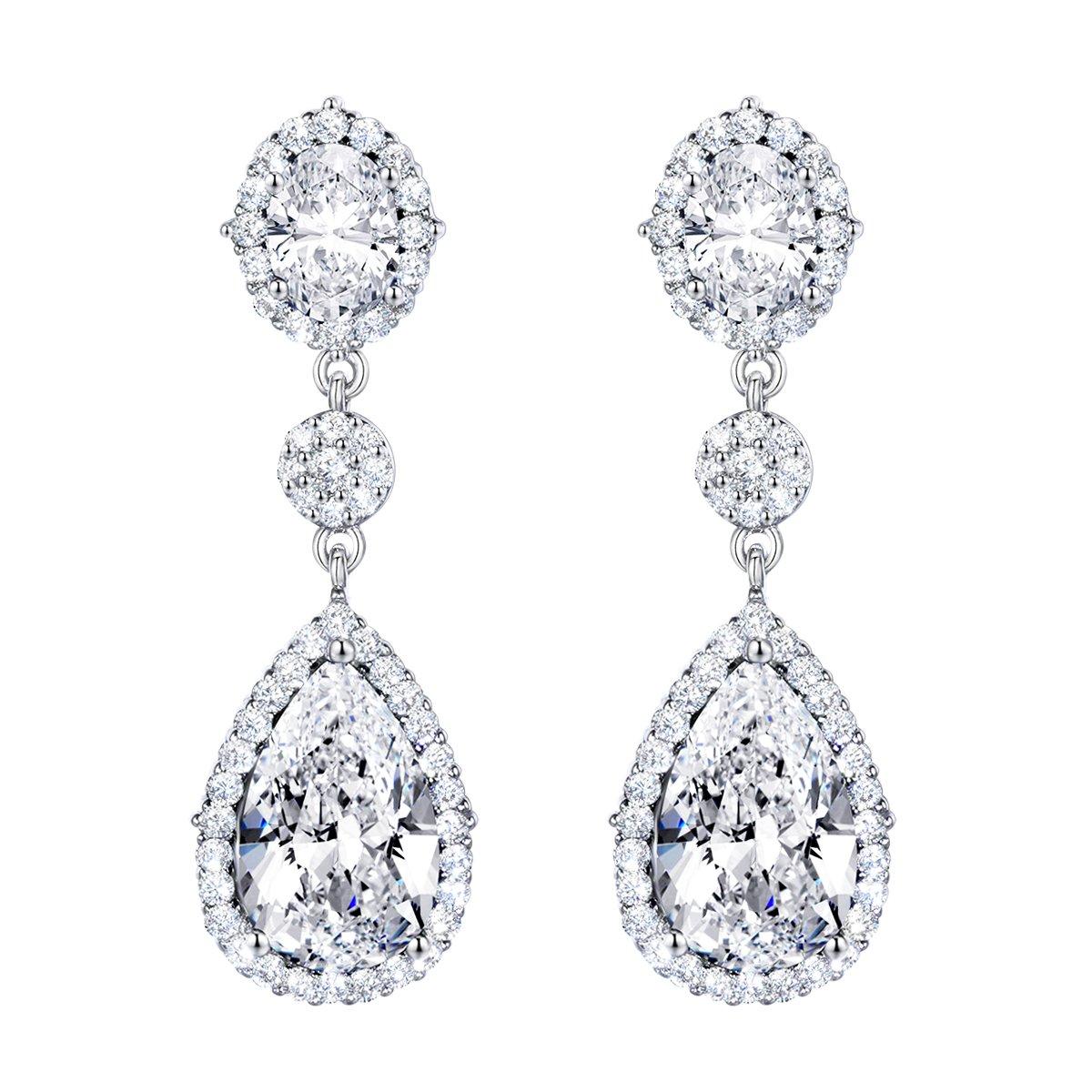 SELOVO Women's Teardrop Dangle Earrings Silver Tone Wedding Bridal Earrings