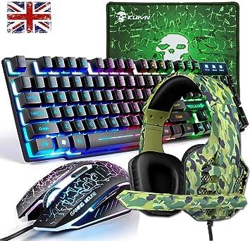 Teclado y Ratón para Juegos, Alfombrilla de Ratón, Auriculares Gaming, USB 4 en 1 Conjunto de Juegos Color del Arco Iris Retroiluminada del Game ...