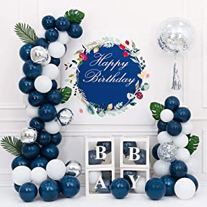 Blue and White Balloons Garland Kit, 83 Pic Blue White and Silver Confetti Metallic Latex Balloons for Boys Girl, Birthday Party, Wedding, Anniversary Decorations