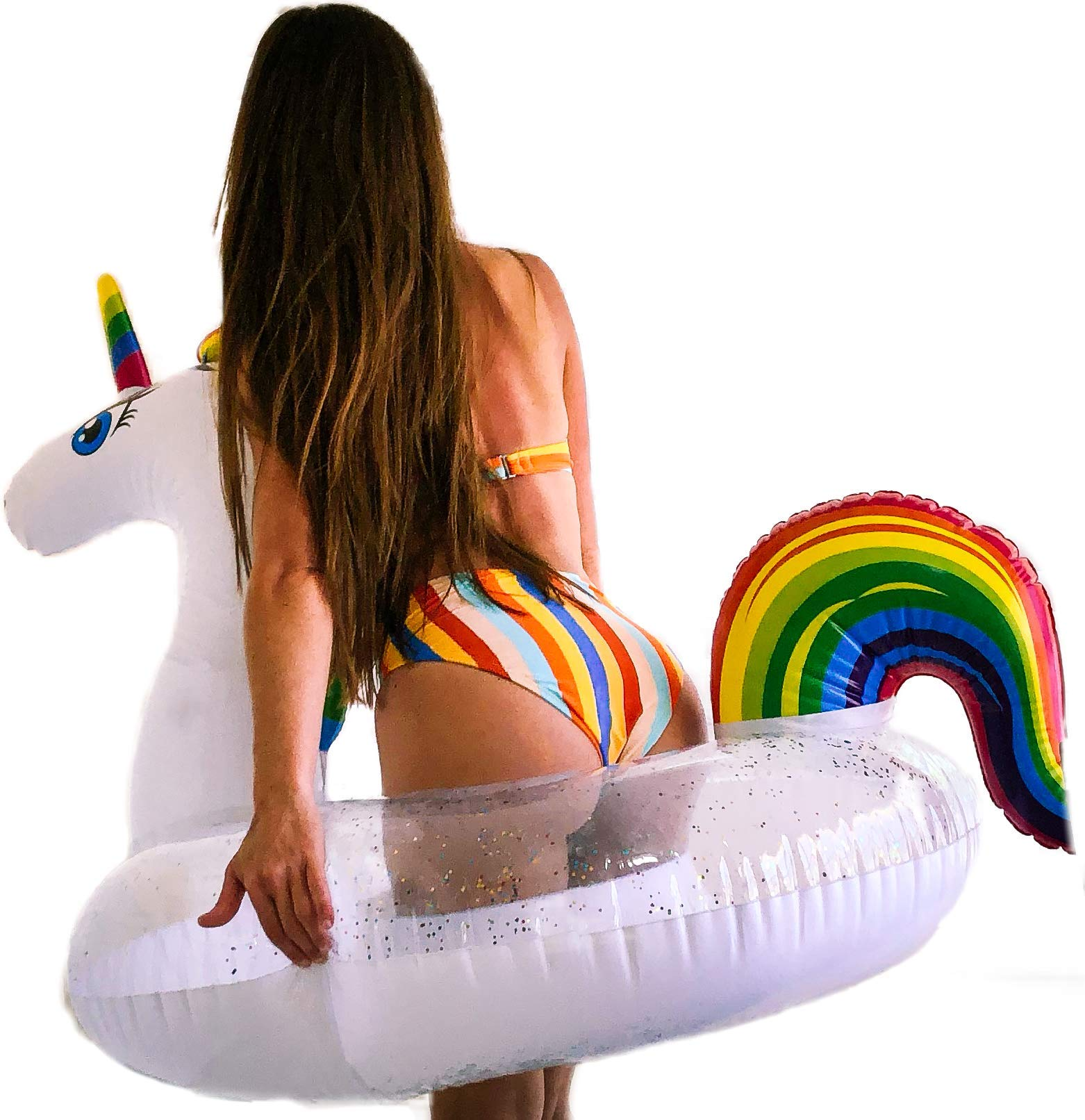 Unicorn Pool Floats for Kids - Glitter Filled - Ride ON Inflatable Unicorn Float for Pool Lake River RAFT - Giant… 10