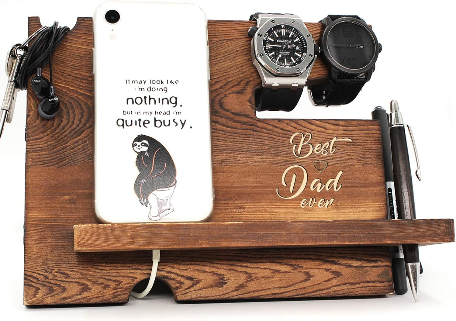 Best Dad Ever – Dad Father Gift from Son or Daughter, Fathers Day Dift, Nightstand Organizer with Coaster, Wooden Desk Docking Station