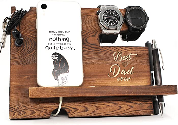 Best Dad Ever - Dad Father Gift from Son or Daughter, Fathers Day Dift, Nightstand Organizer with Coaster, Wooden Desk Docking Station