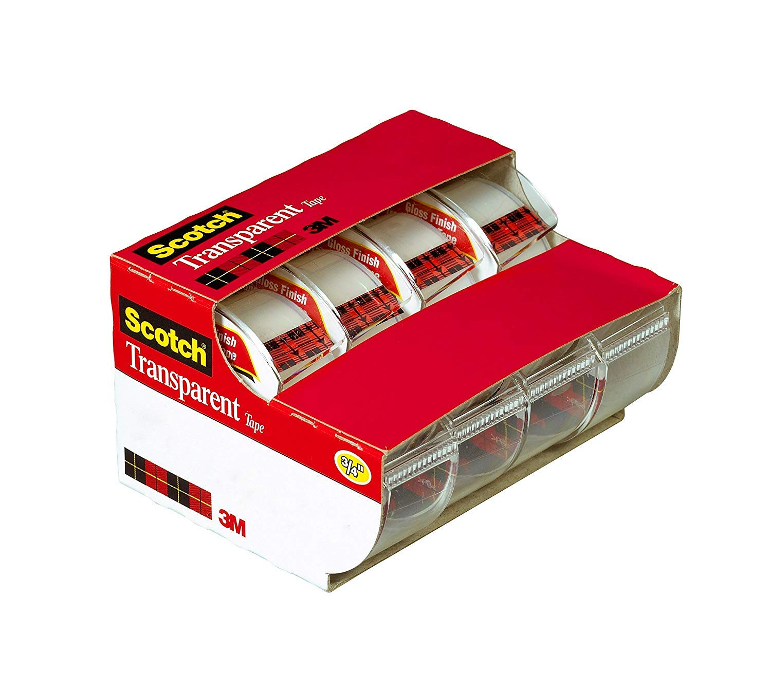 Scotch Transparent Tape, Versatile, Photo-Safe, Great for Gift Wrapping, 3/4 x 850 Inches, 4 Dispensered Rolls (4814)