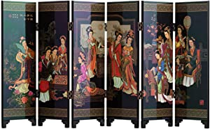 TJ Global 6-Panel Traditional Chinese Art for Home Decoration - Decorative Lacquerware, Home Decor, Lacquer, Oriental, Mini Divider (Ladies)