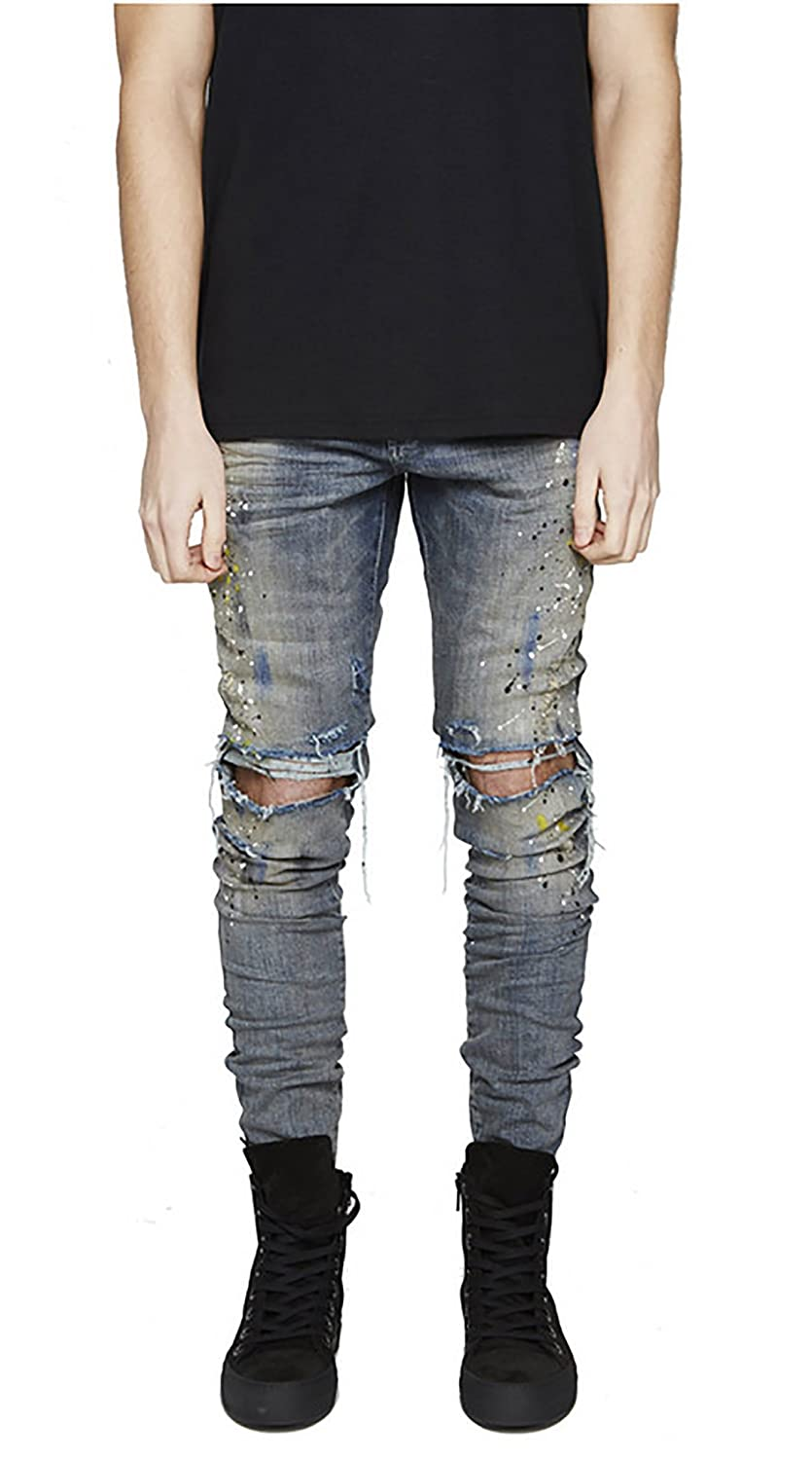 MOUTEN Mens Low Waist Ripped Holes Slim Fit Casual Stretchy Denim Jeans Pants