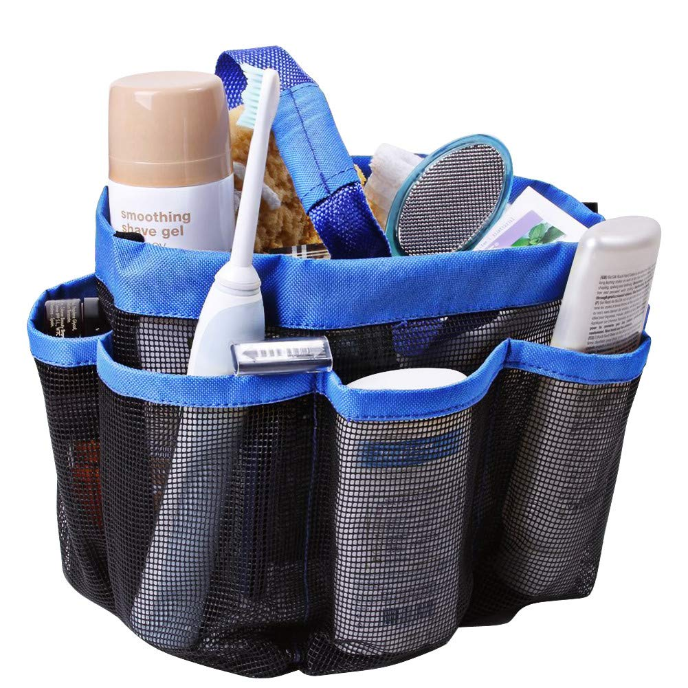 MuNiSa Mesh Shower Caddy Tote, Quick Dry Oxford Hanging Toiletry Organizer with 8 Storage Pockets, Portable Bath Bag for Shampoo, Conditioner, Soap and Other Bathroom Accessories(Blue)