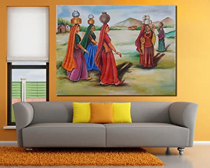 999store village women painting oil canvas hand painting large painting for living room unframed 132x101