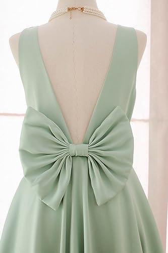 Amazon.com: Sage green Dress Sage green backless dress bow back ...