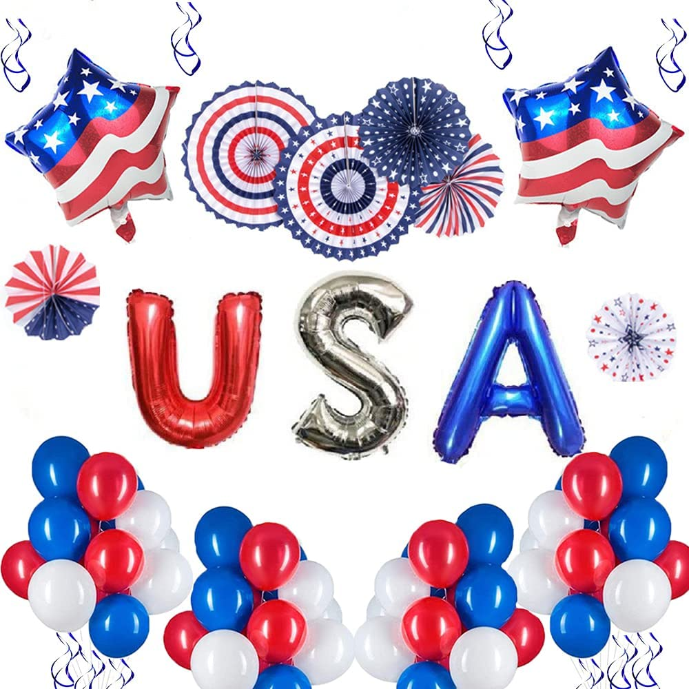 4th of July Balloons Decorations, Red White and Blue Decorations, Patriotic Decorations, Independence Day Indoor or Outdoor Party, Memorial Day Decor, Metallic Balloons, Paper Fans, Balloon Inflator