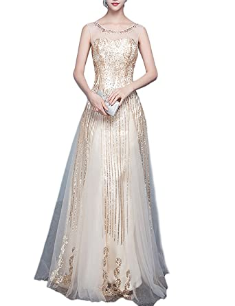 Amazon.com: OYISHA Womens Sheer Neck A-Line Sequined Prom Dresses Formal Evening Gown FM48: Clothing