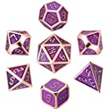 DND Metal Dice, 7 Die Polyhedral Game Dice Solid Metal D&D Dice Set with Metal Box & 2 Pencils for Role Playing Game Dungeons and Dragons D&D Pathfinder Shadowrun and Math Teaching(Purple Gold)