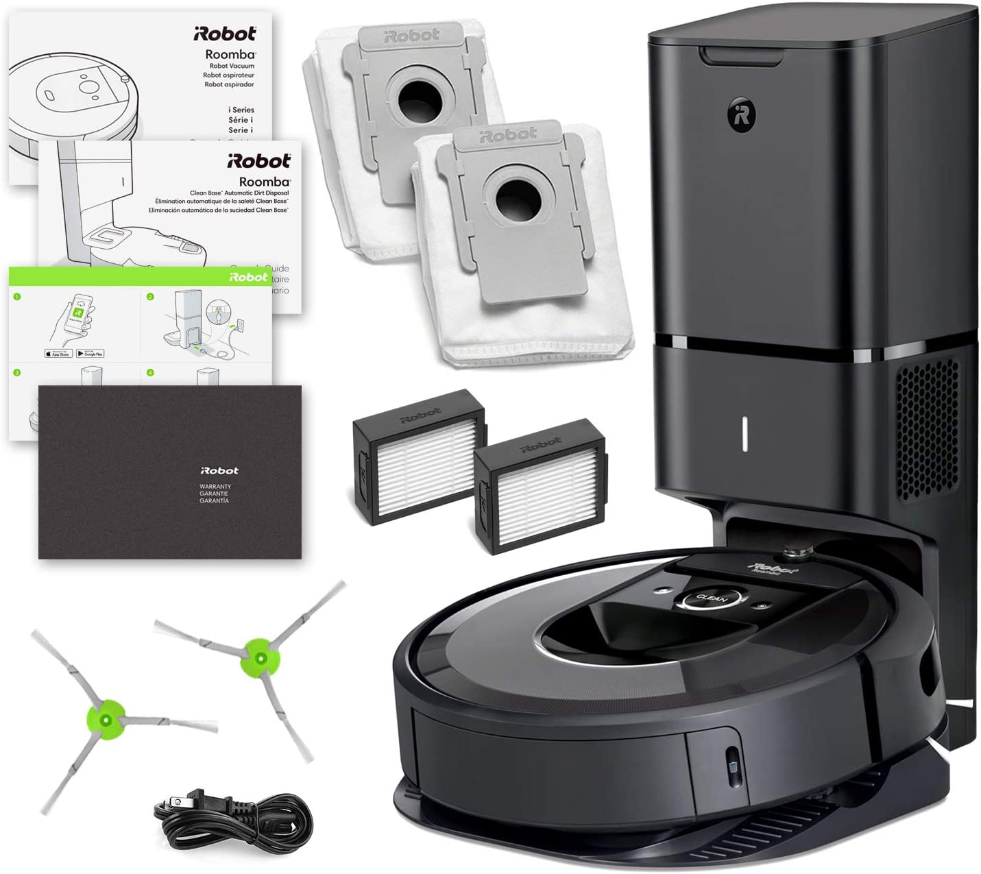 Roomba i7 i7 Plus iRobot Robot Vacuum 7550 Automatic Dirt Disposal, Ideal for Pet Hair, Wi-Fi Connected, Smart Mapping 1 Extra Edge-Sweeping Brush, 1 Extra Filter Bundle
