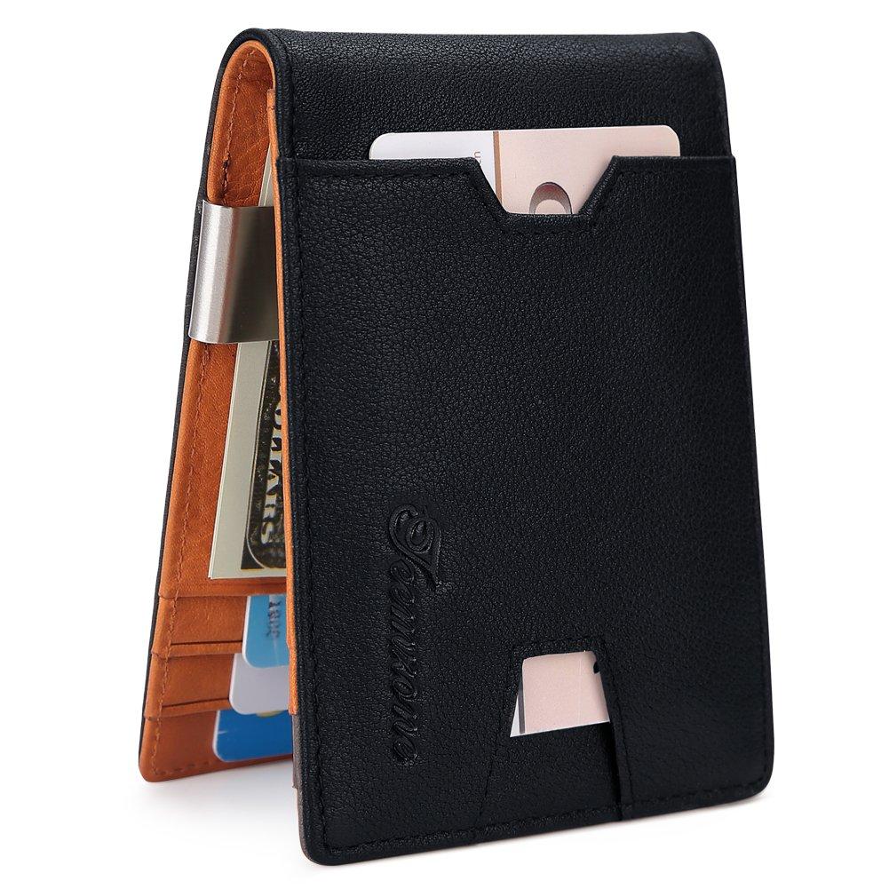 Mens Wallet slim Front Pocket RFID Blocking Card Holder Minimalist Mini Bifold Gift Box