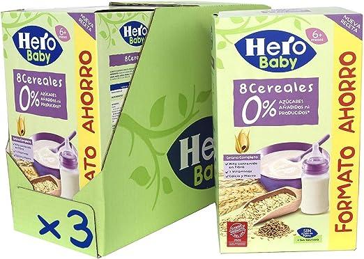 Hero Baby - Papilla de 8 Cereales sin Azúcares Añadidos, para Bebés a Partir de los 6 Meses - Pack de 3 x 820 g: Amazon.es: Alimentación y bebidas