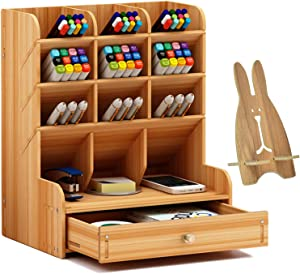 Wood Desk Organizer With Drawer, Multipurpose Pencil/pen Holder, Wooden Desktop Stationary Organizer Shelf for Art Supplies, Easy Assembly Office Organization, Small Accessories Storage Table (Cherry)