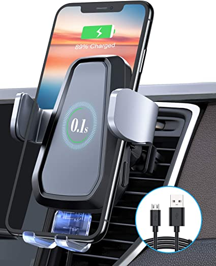 Wireless Car Charger Mount All Smartphone Galaxy S20//S20 Plus//Note10,Huawei 10W Auto-Clamping Qi Fast Charging Car Mount Air Vent Phone Holder for iPhone SE//11//11 Pro//11 Pro Max//XS Max