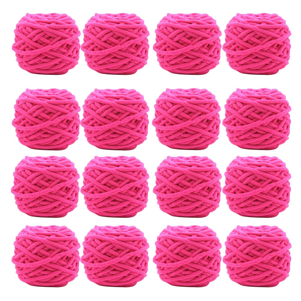 編むかぎ針編みクラフト16パックのための柔らかい糸の厚い毛布のビロードの糸,Rosered B07KFJ5K15 RoseRed