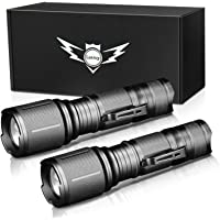 LETMY LED Tactical Flashlight, Ultra Bright 2000 Lumen XML T6 LED Flashlights With 5 Modes, Zoomable and Water Resistant…