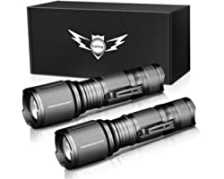 LETMY LED Tactical Flashlight, Ultra Bright 2000 Lumen XML T6 LED Flashlights, High Lumen, Zoomable, 5 Modes, Water Resistant