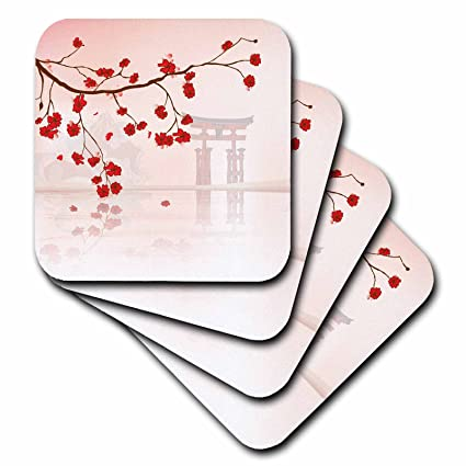 3dRose Beautiful Japanese Sakura Red cherry Blossoms Branching Reflecting Over Water Oriental Vector Design - Soft Coasters, Set of 4 (cst_116168_1)