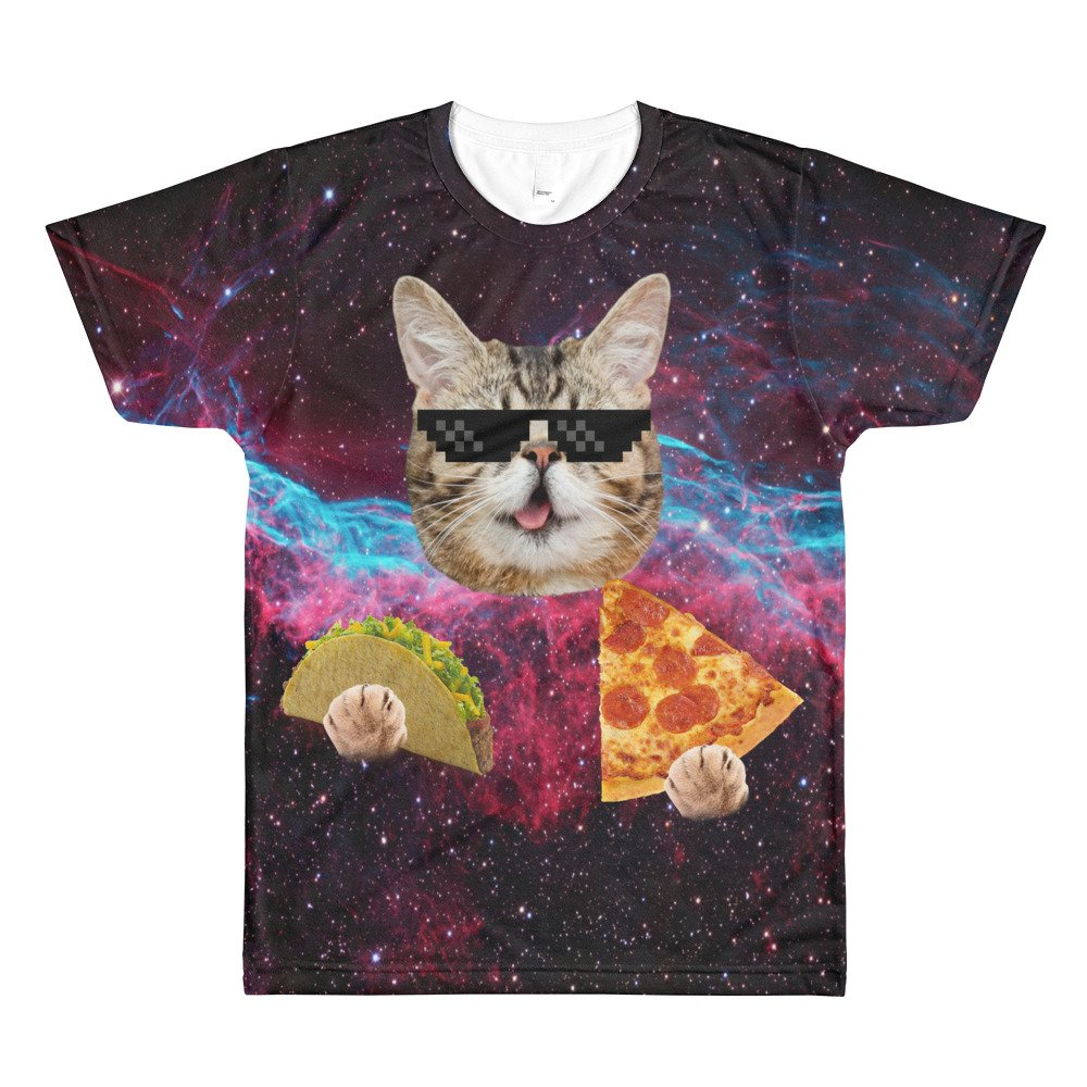 Cool Space Cat Eating Pizza and Tacos T Shirt