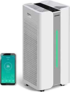 Gocheer Air Purifier for Large Room CADR 1,000 Covers 2,500 Sq ft Dual Drive 4-in-1H13 True HEPA Filters Smart Air Cleaner for Home Eliminate Smoke Dust Pollen Mold Pet Dander Allergens Gases