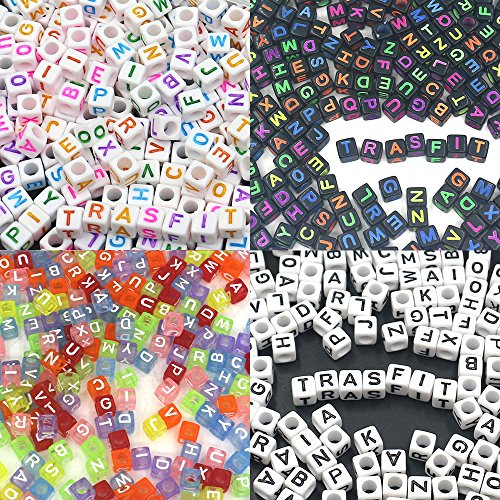 ": Trasfit 800 Pieces 4 Color Acrylic Alphabet Letter""A-Z"" Cube Beads for Jewelry Making, Bracelets, Necklaces, Key Chains and Kids Jewelry (6mm)"