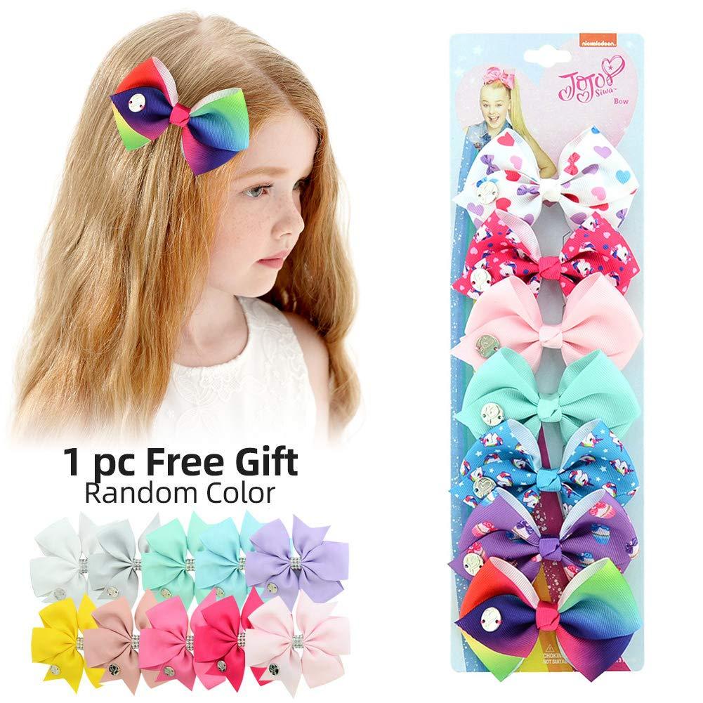 JOJO Siwa 7 Days Hair Bows 7pcs Unicorn Hair Clips Rainbow Hair Accessories for Girls Toddler Kids