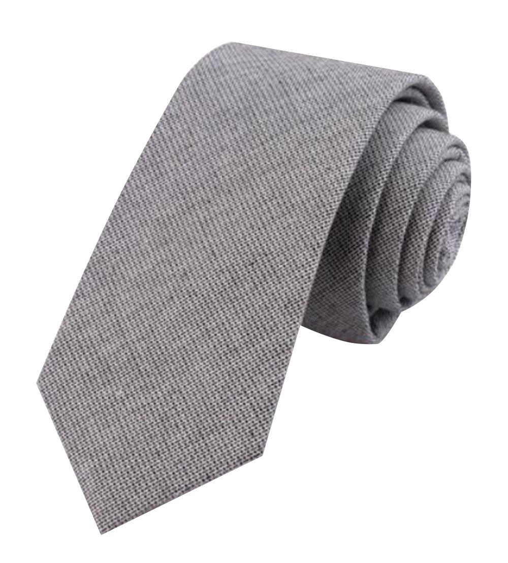 TRENDY XU Men's Slim Jean Necktie Formal/Casual Denim Neckwear Skinny Ties (Grey)